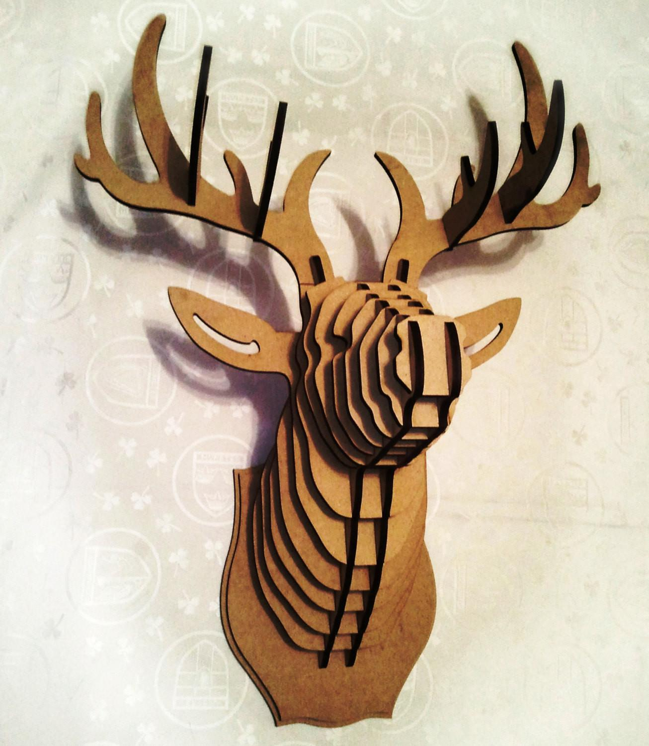Deer Head Puzzle Animal Cardboard Mdf