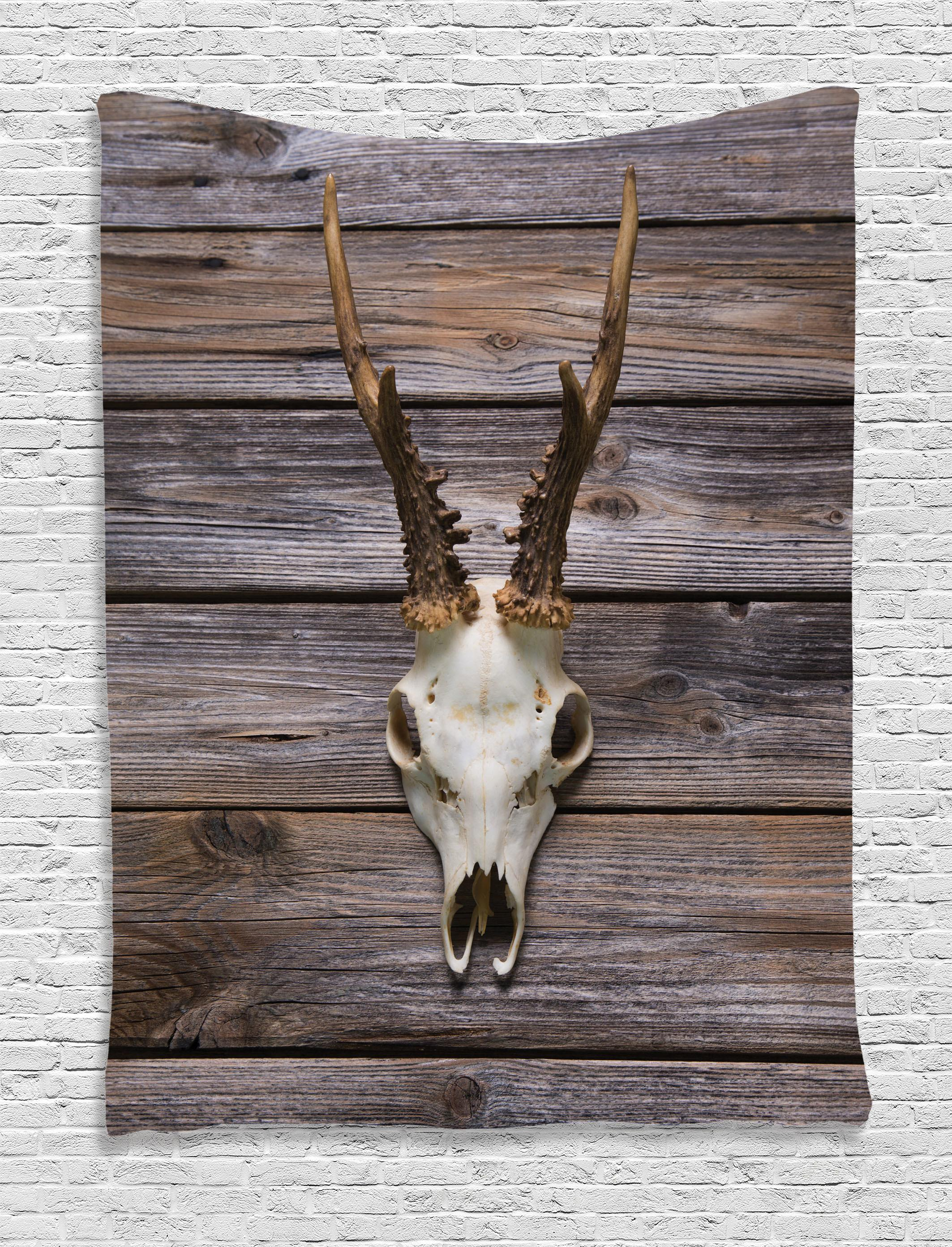 Deer Wall Hanging Tapestry Rustic Antlers Wood Home