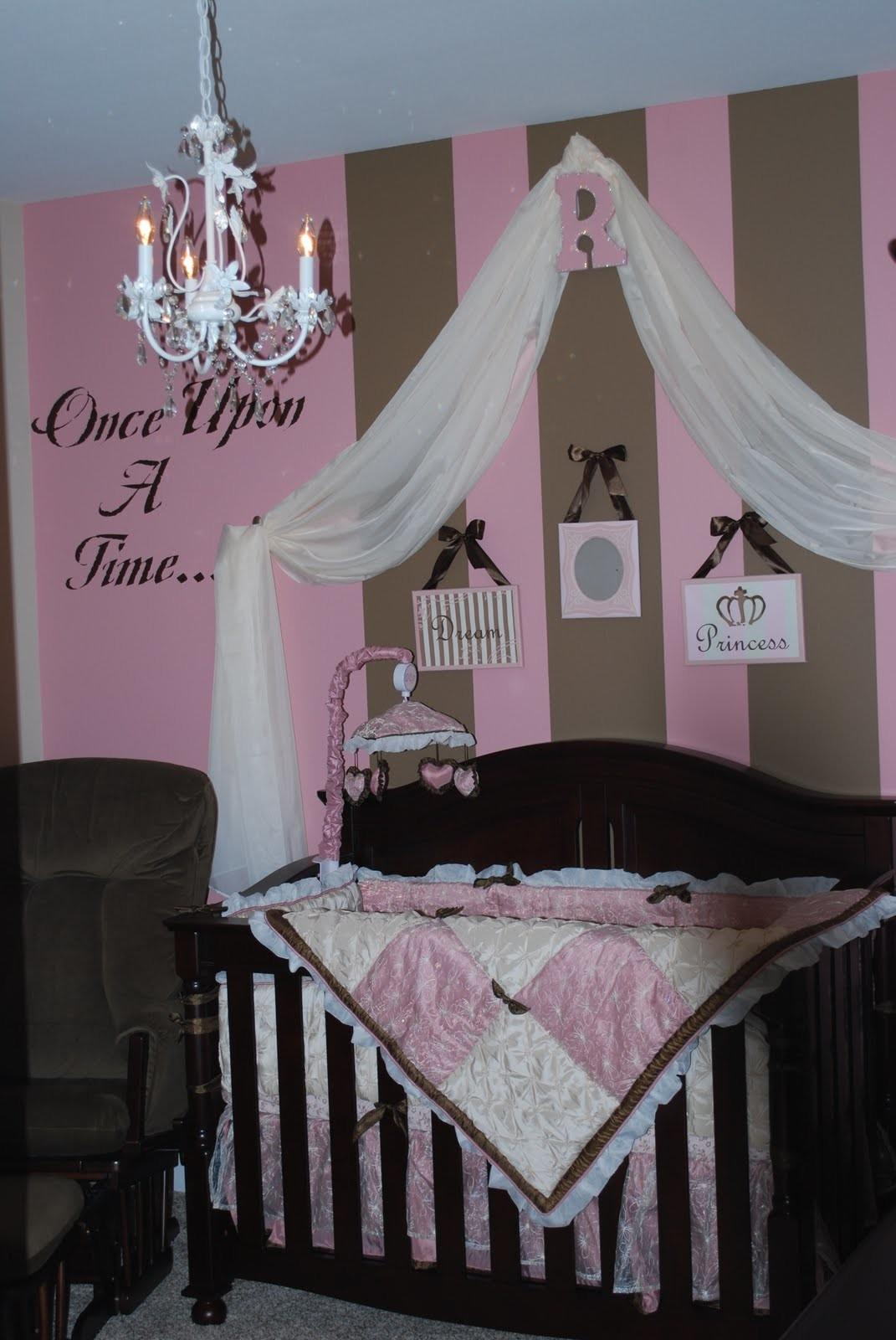 Delightful Baby Girl Room Stripped Pink Wall