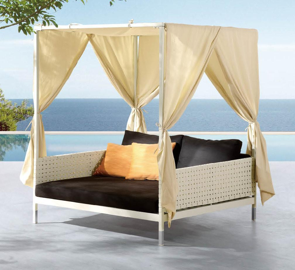 Deluxe Patio Swing Daybed Canopy Wooden Global