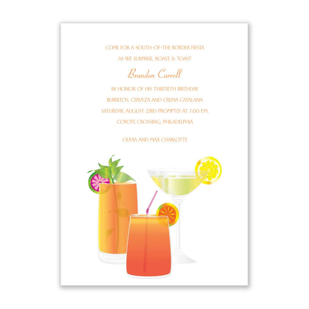 Deluxe Summer Party Cocktail Dinner Invitation Sample
