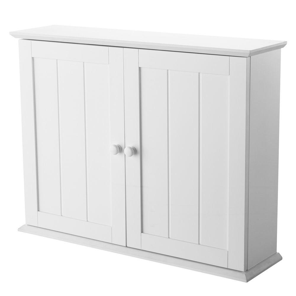Denver White Wood Wall Mounted Bathroom Cabinet