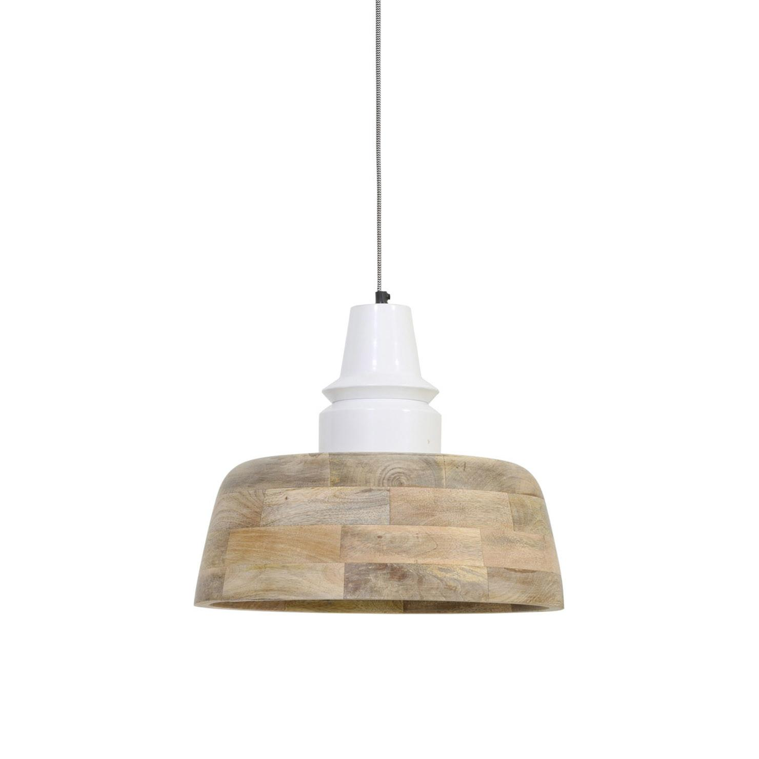 Derby Wooden Pendant Light Natural White Achica