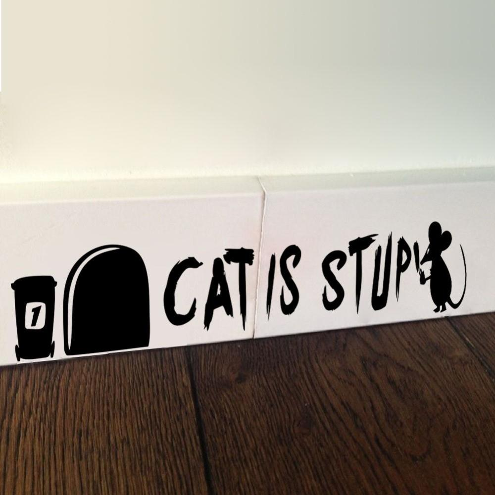 Design Funny Mouse Hole Wall Stickers Cat Stup