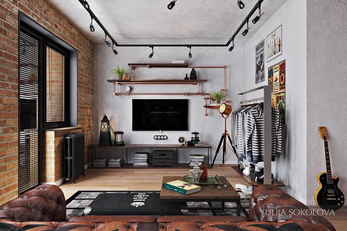 Design Industrial Style Bachelor Pads Examples