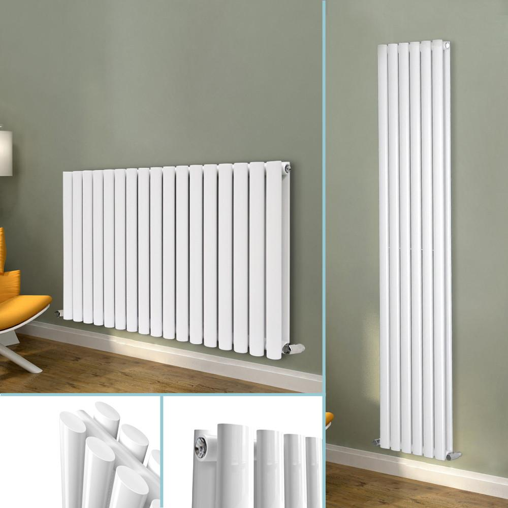 Designer Radiator Double Panel Oval Column Modern Gloss