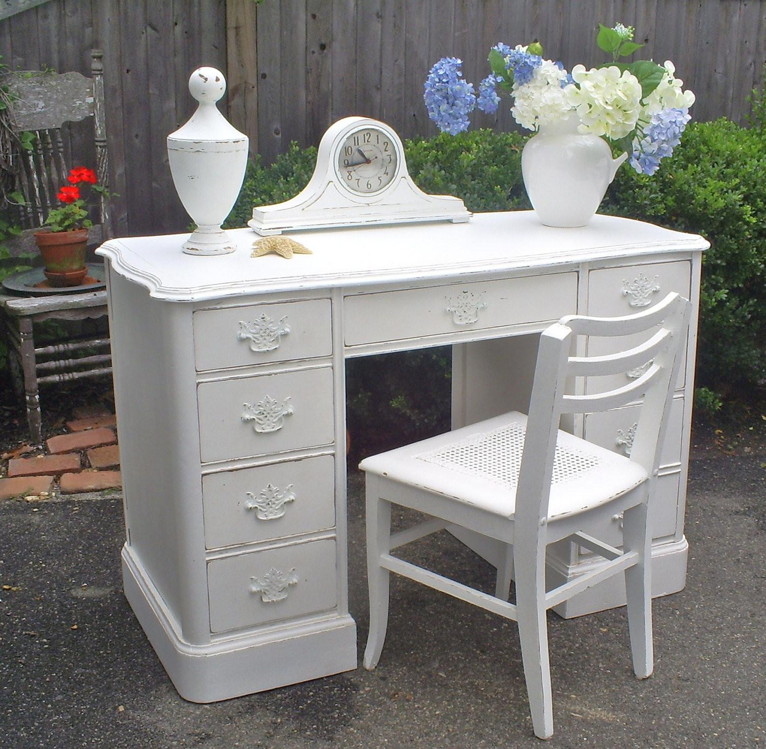 Desk White Shabby Chic Painted Furniture Backporchco