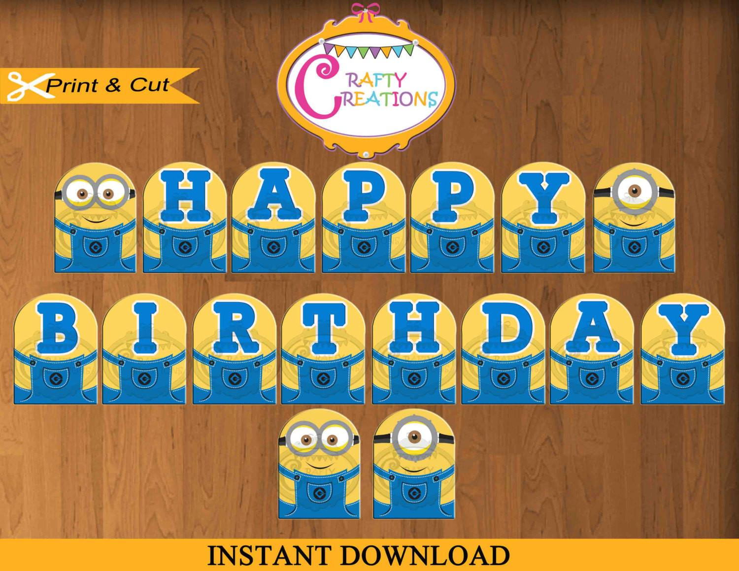 Despicable Banner Printable Minions Birthday Party