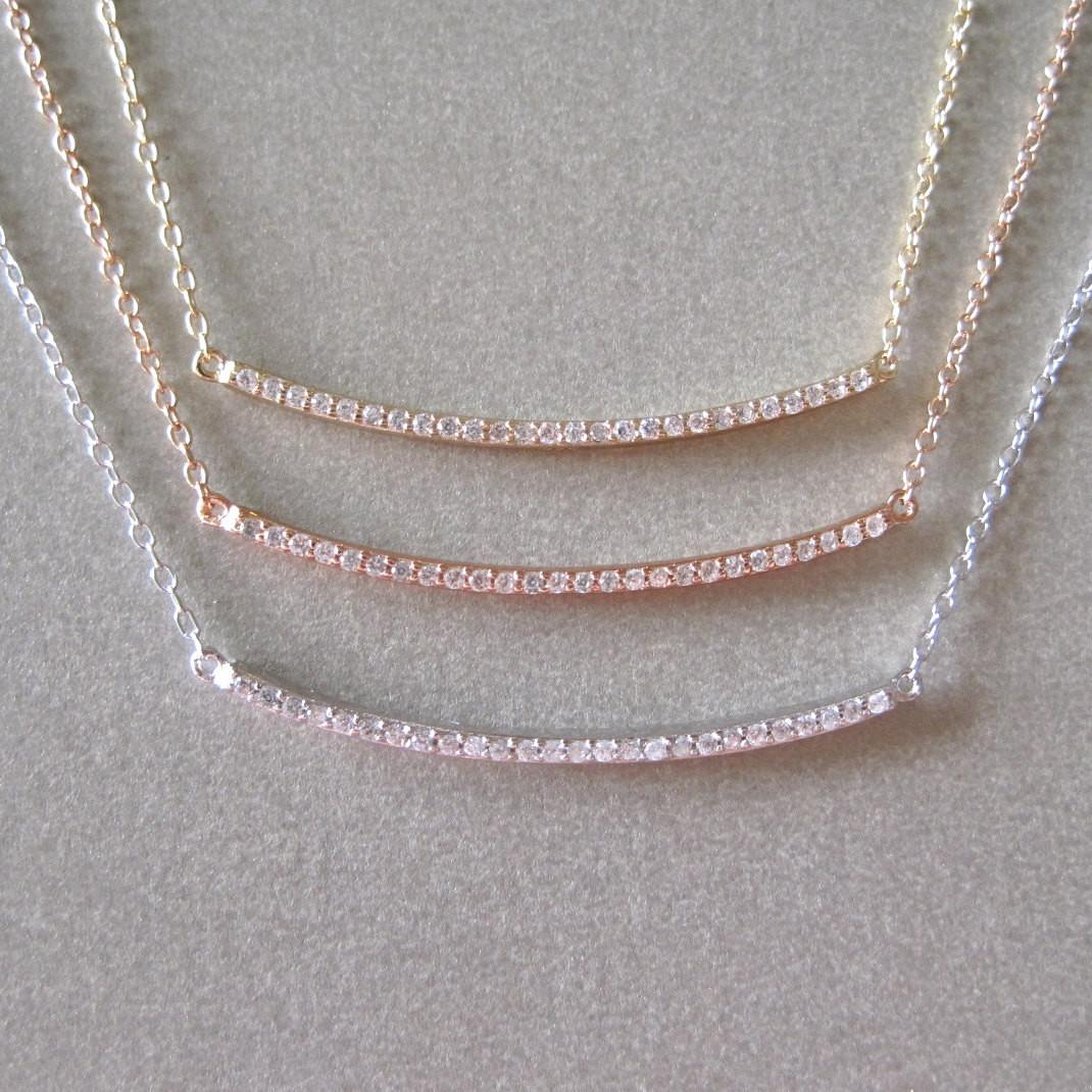 Diamond Bar Necklace Layering
