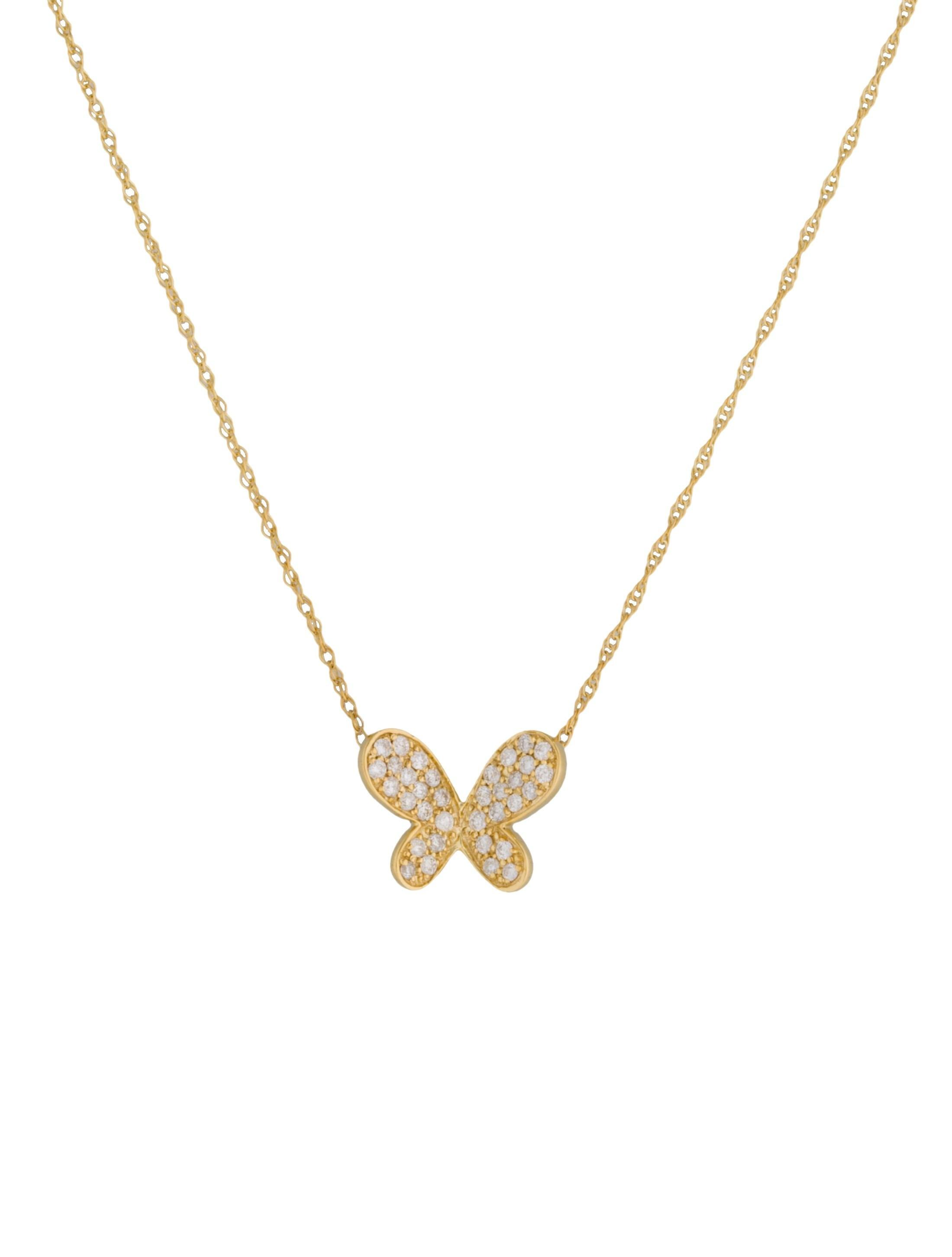 Diamond Butterfly Pendant Necklace Necklaces Fjn