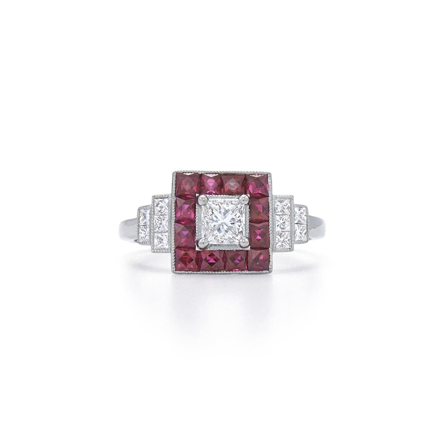 Diamond Ruby Square Ring 18k White Gold Kwiat