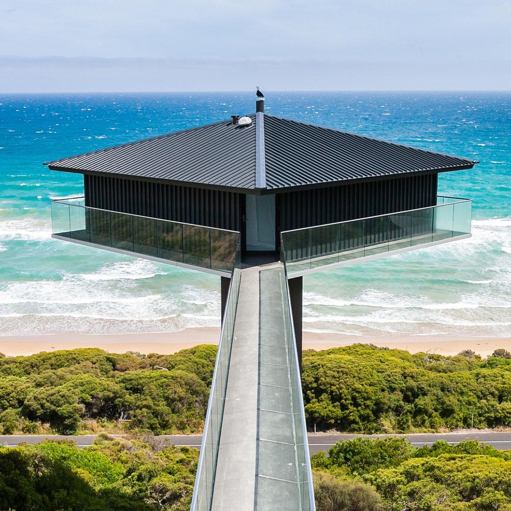 Diamond Shaped Suspended Pole House Delivers Dramatic