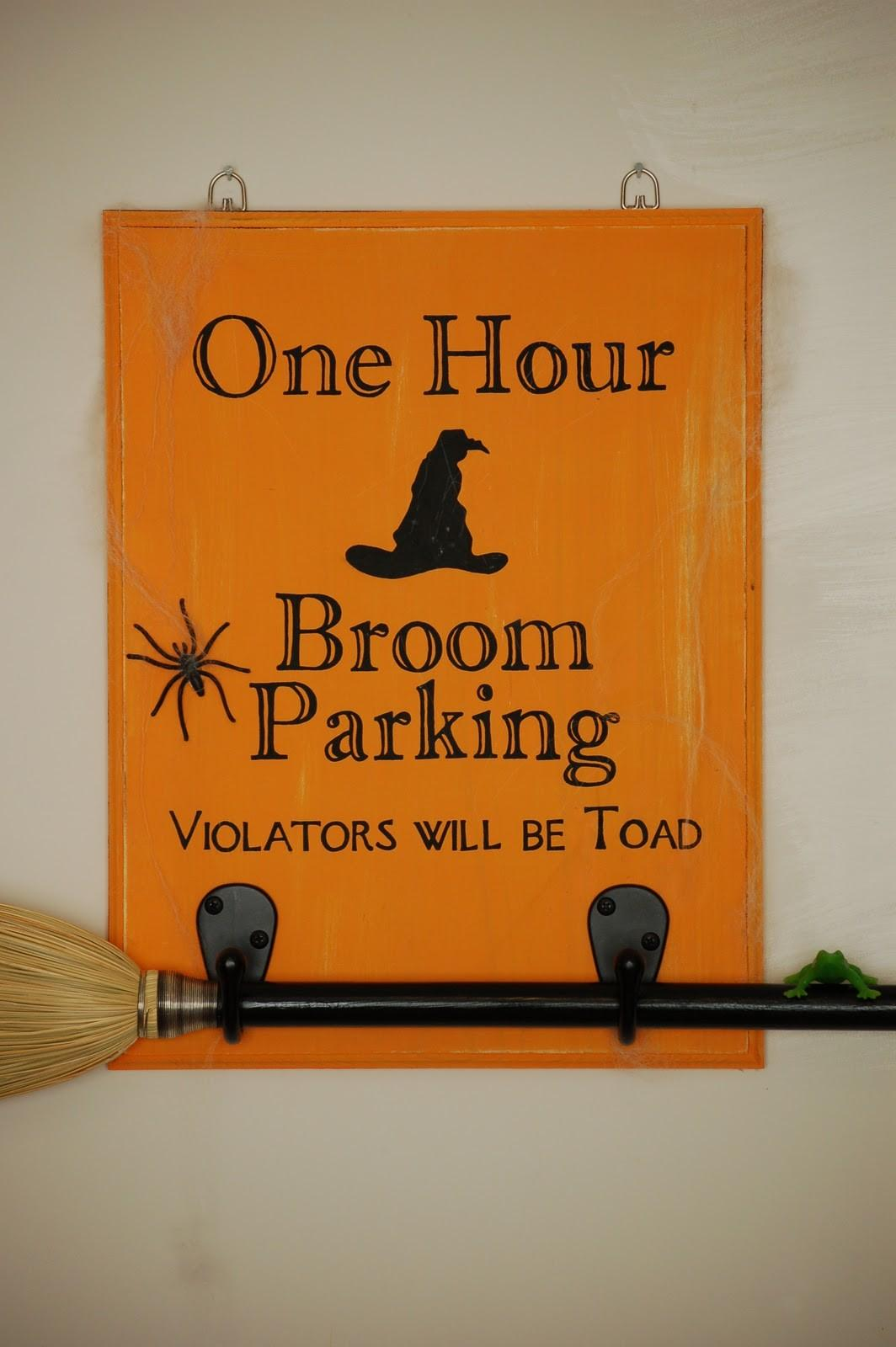 Diary Crafty Lady Broom Parking Halloween Sign