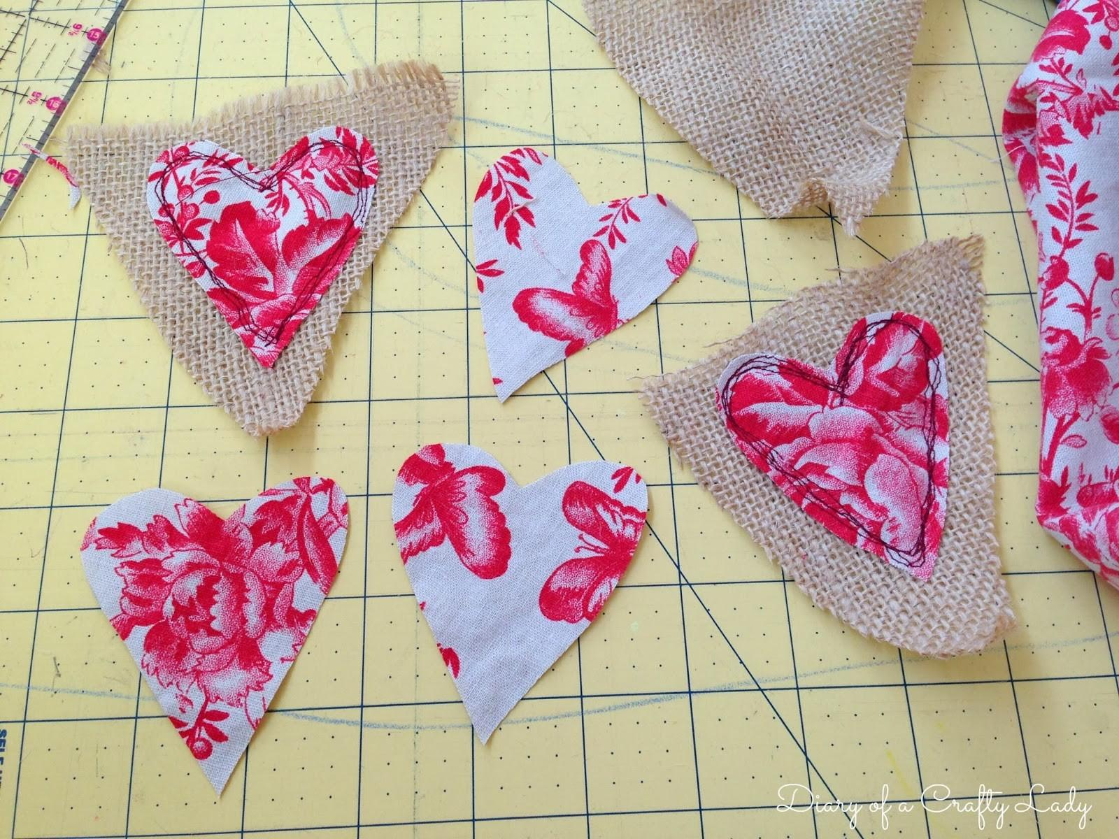 Diary Crafty Lady Valentines Day Burlap Fabric
