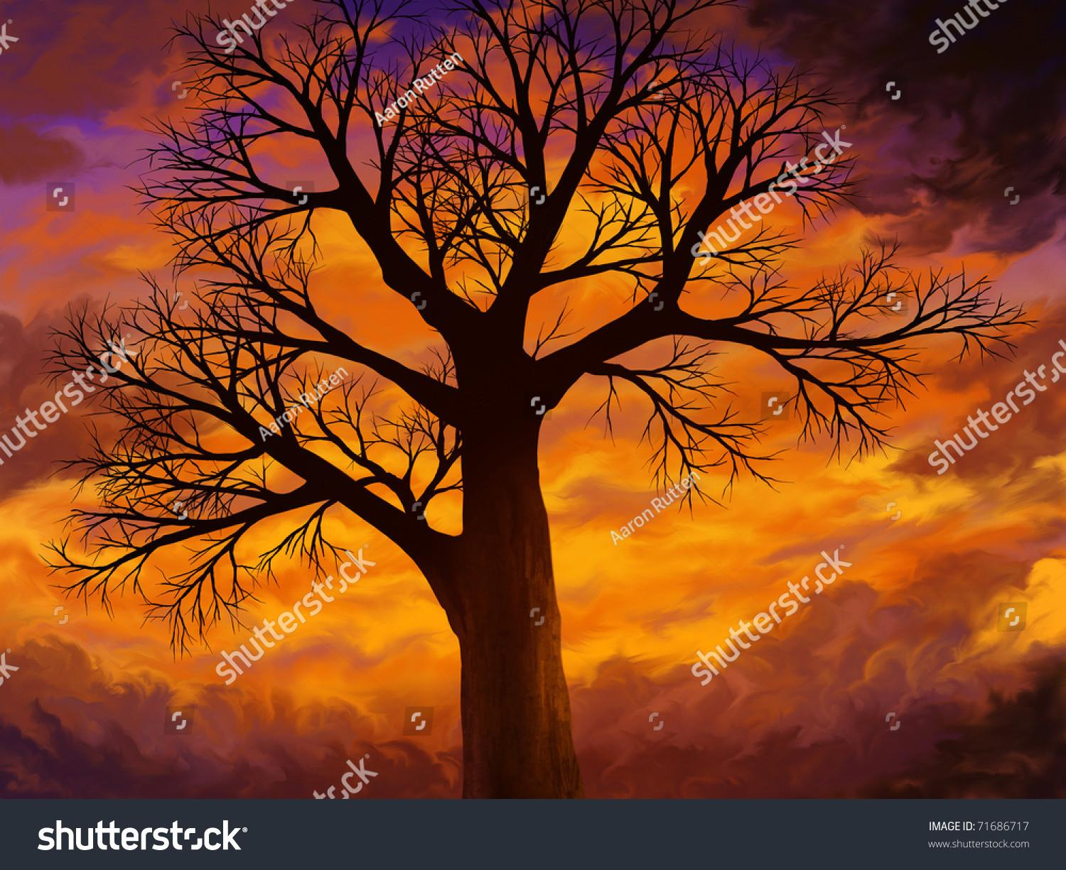 Digital Painting Bare Tree Many Branches Stock
