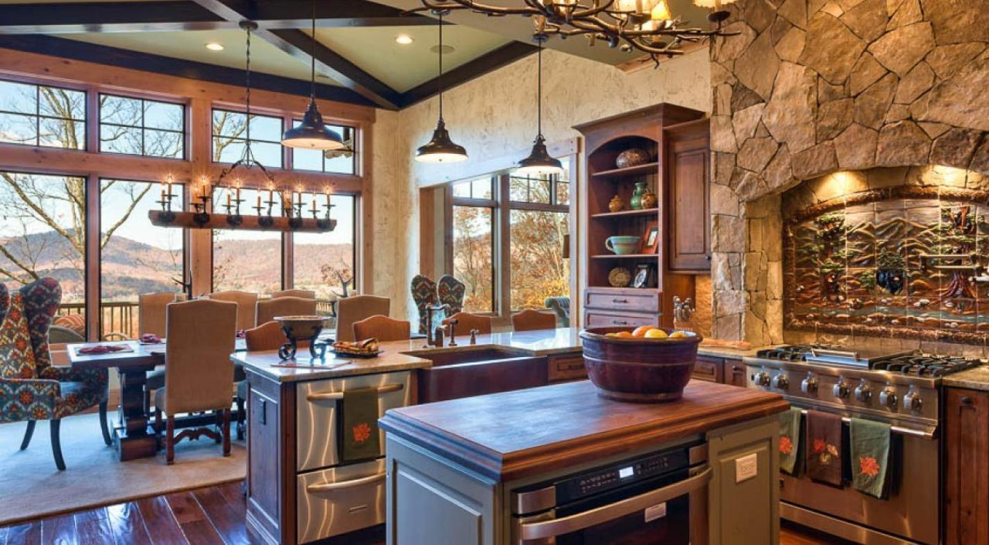 Dining Astounding Rustic Room Stone Wall