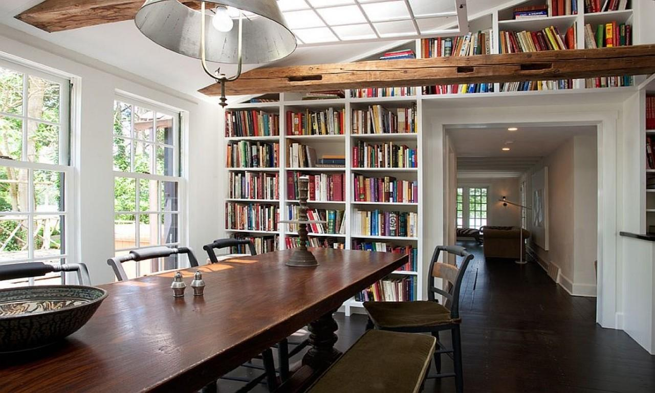 Dining Built Shelves Room Into Library
