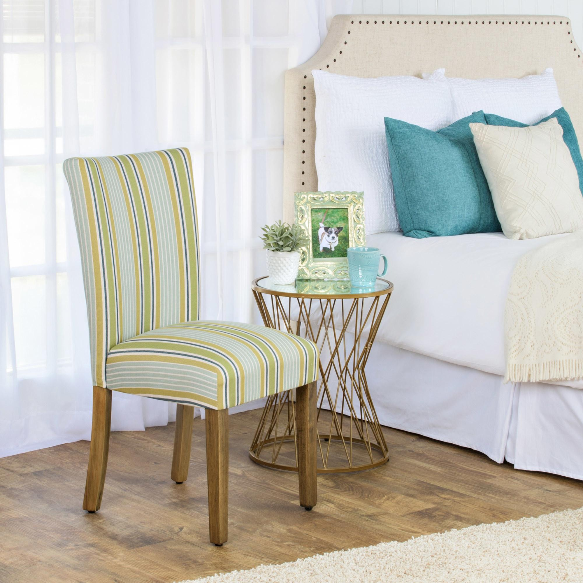 Dining Room Design Simple Striped Parsons Chair