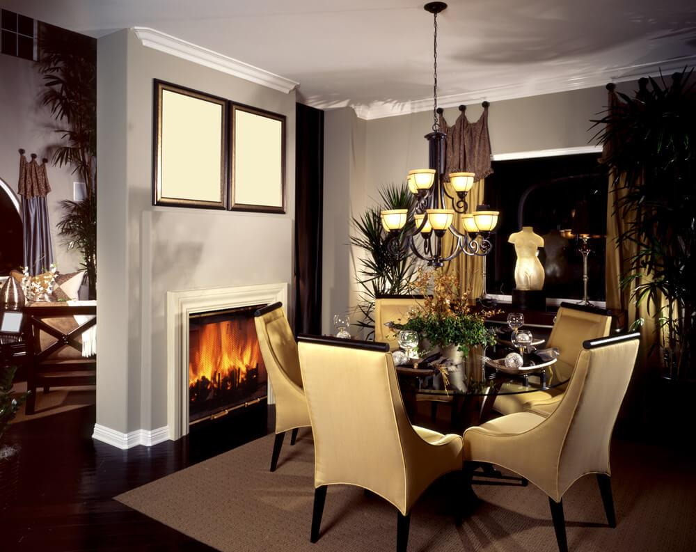 Dining Room Designs Fireplace Ideas Pics