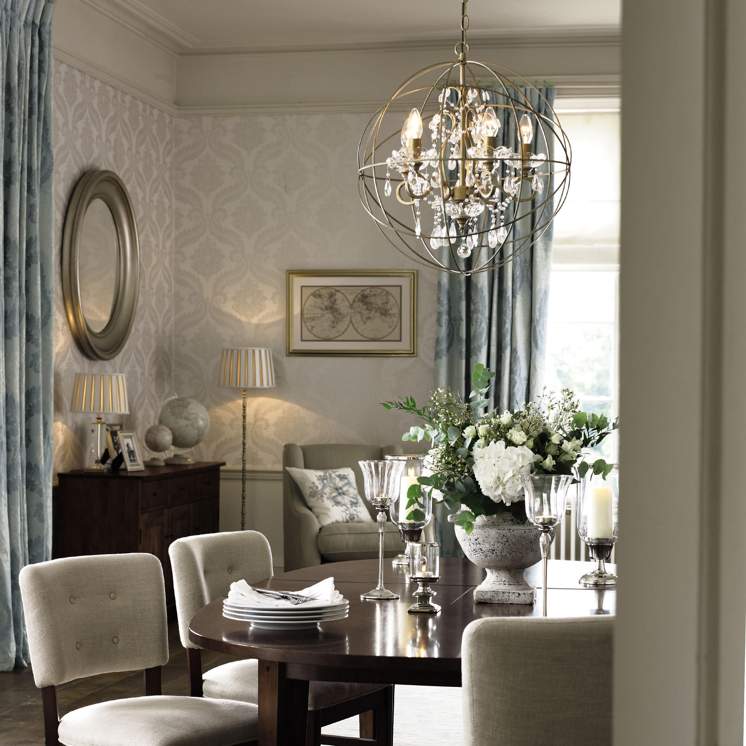 Dining Room Ideas Using Gold Shamley Sphere Chandelier