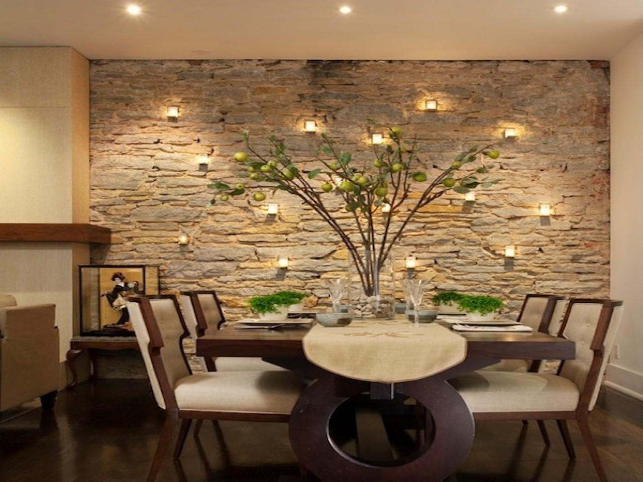 Dining Room Ideas Walls Stone Accent Wall