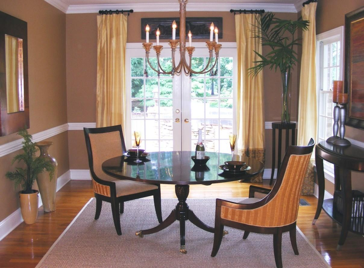 Dining Room Interesting Brown Chandelier Above Dark Table