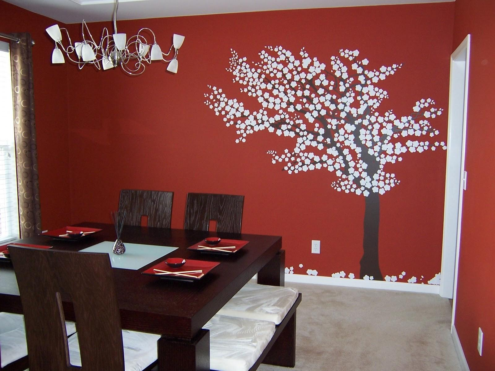 Dining Room Red Small Tree Sticker Wall