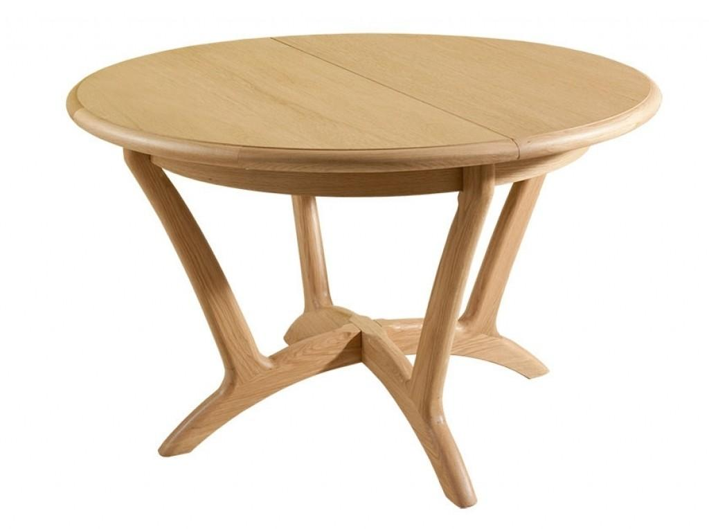 Dining Room Round Brown Wood Expandable Table