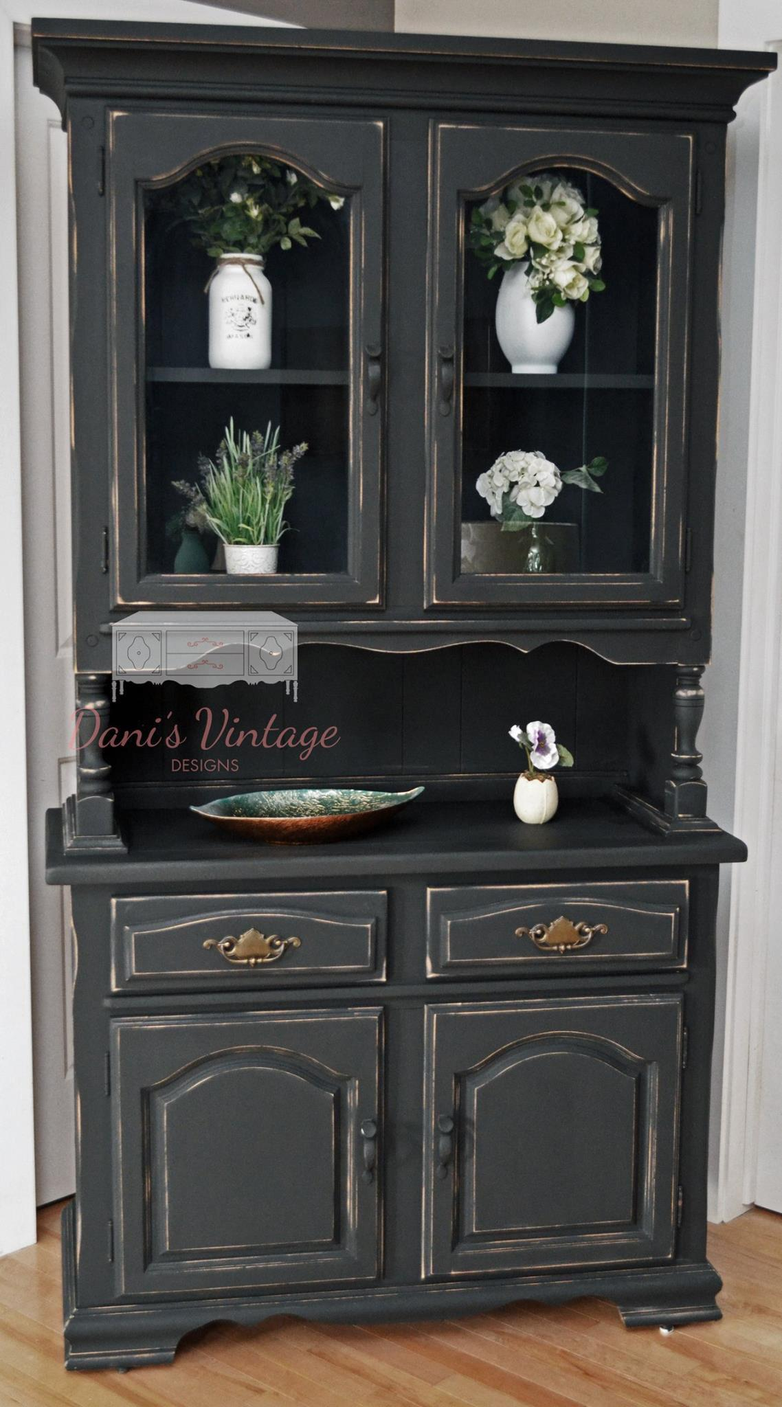 Dining Room Vintage Paint Black Wooden China Cabinets