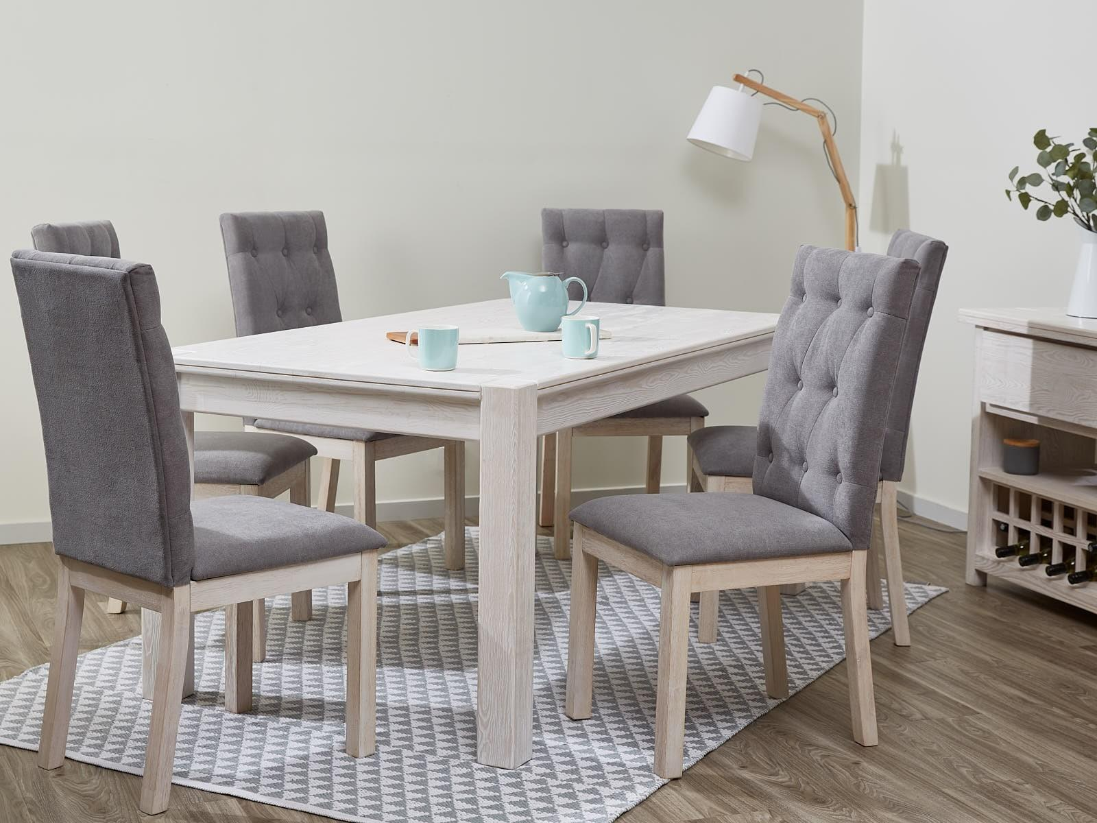 Dining Sets Upholstered Fabric Chairs Whitewash B2c
