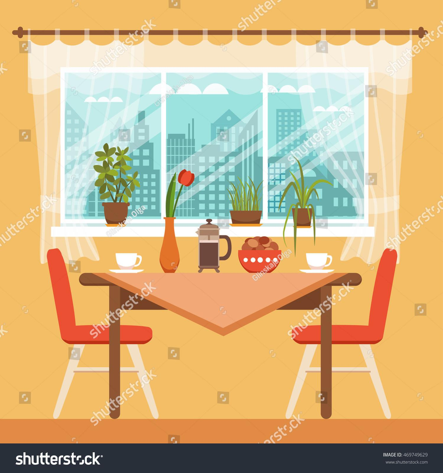 Dining Table Chairs Coffee Cups Near Stock Vector