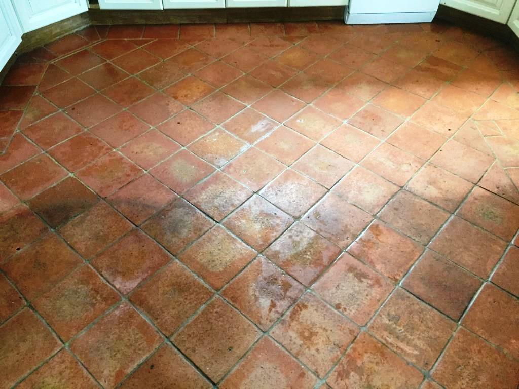 Dirty Terracotta Tiles Grout Cleaned Sealed