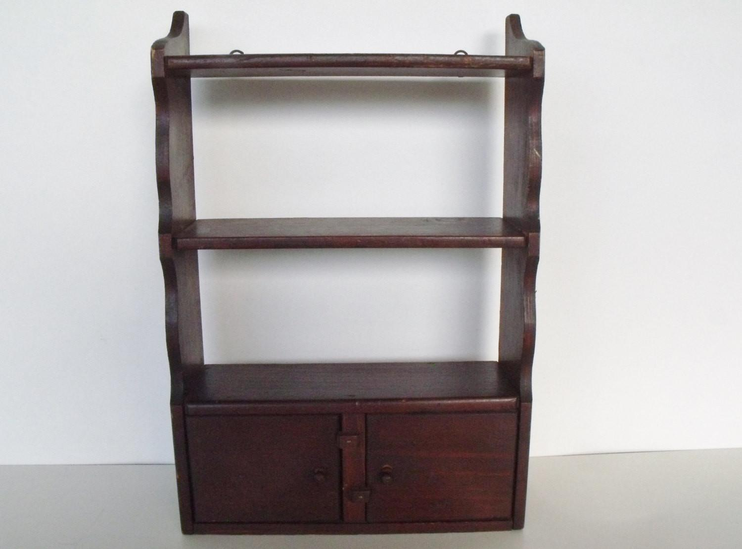 Display Shelf Cabinet Wooden Antique Doors