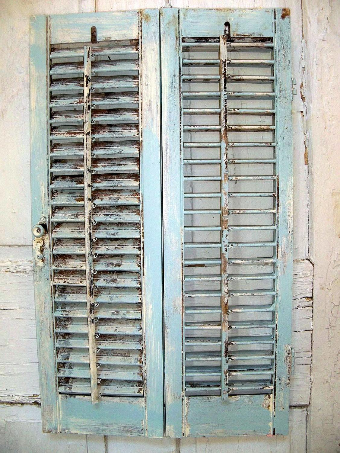 Distressed Beach Cottage Wooden Shutter French Blue Shabby