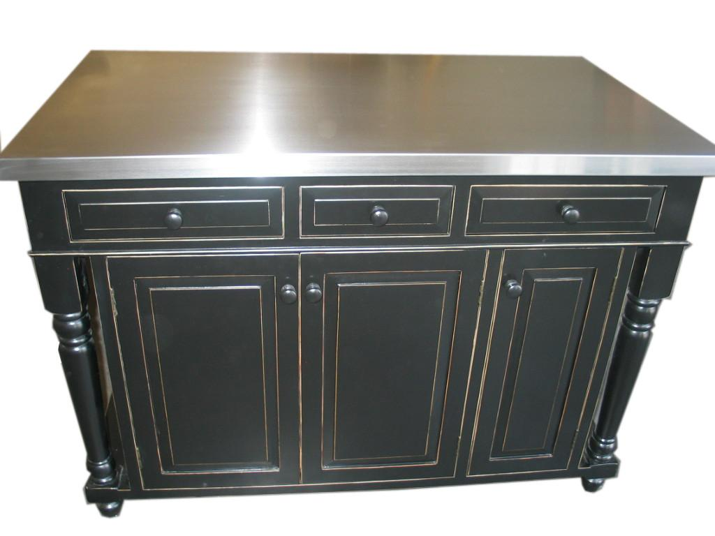 Distressed Black Kitchen Island Stainless Steel