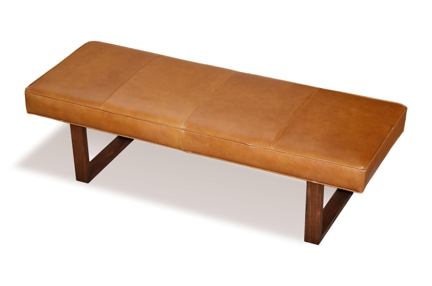 Distressed Brown Genuine Leather Upholstered Bench