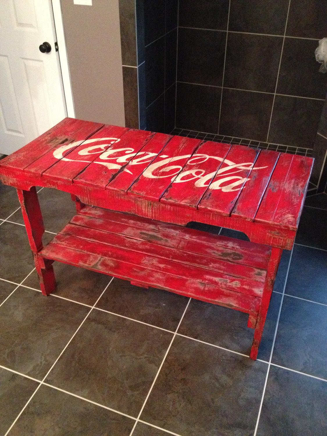 Distressed Coca Cola Table Made Reclaimed Vintage