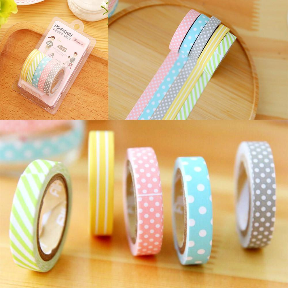 Diy 5pcs Set Washi Tape Book Decor Scrapbooking Adhesive
