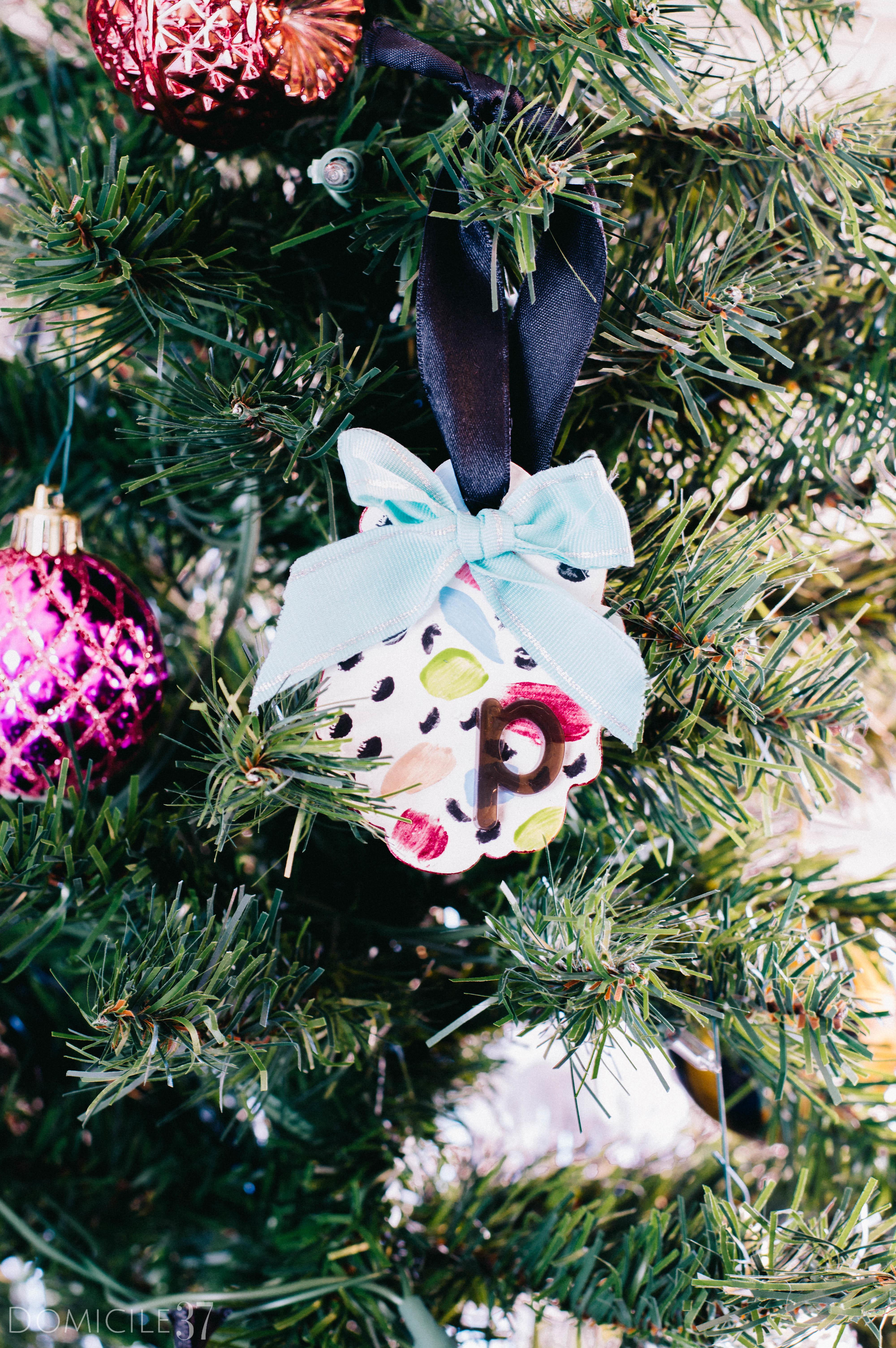 Diy Abstract Monogram Ornament Gift Tag Domicile