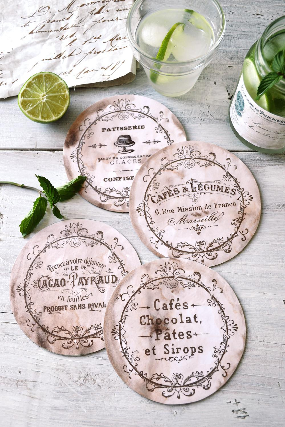 Diy Antique French Coasters Recycled Cds 144