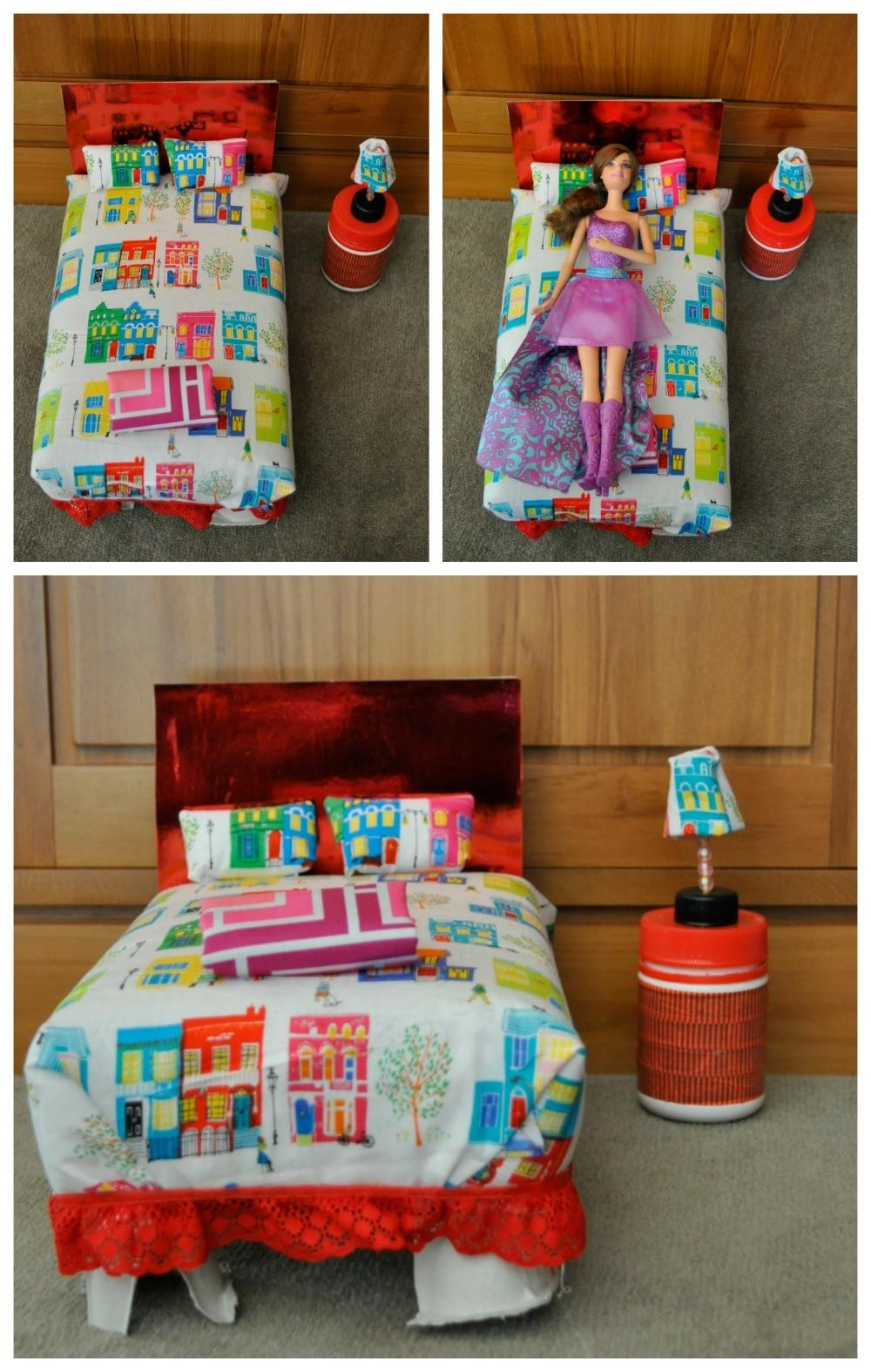 Diy Barbie Bed Out Shoebox Cereal Box Fun Mum