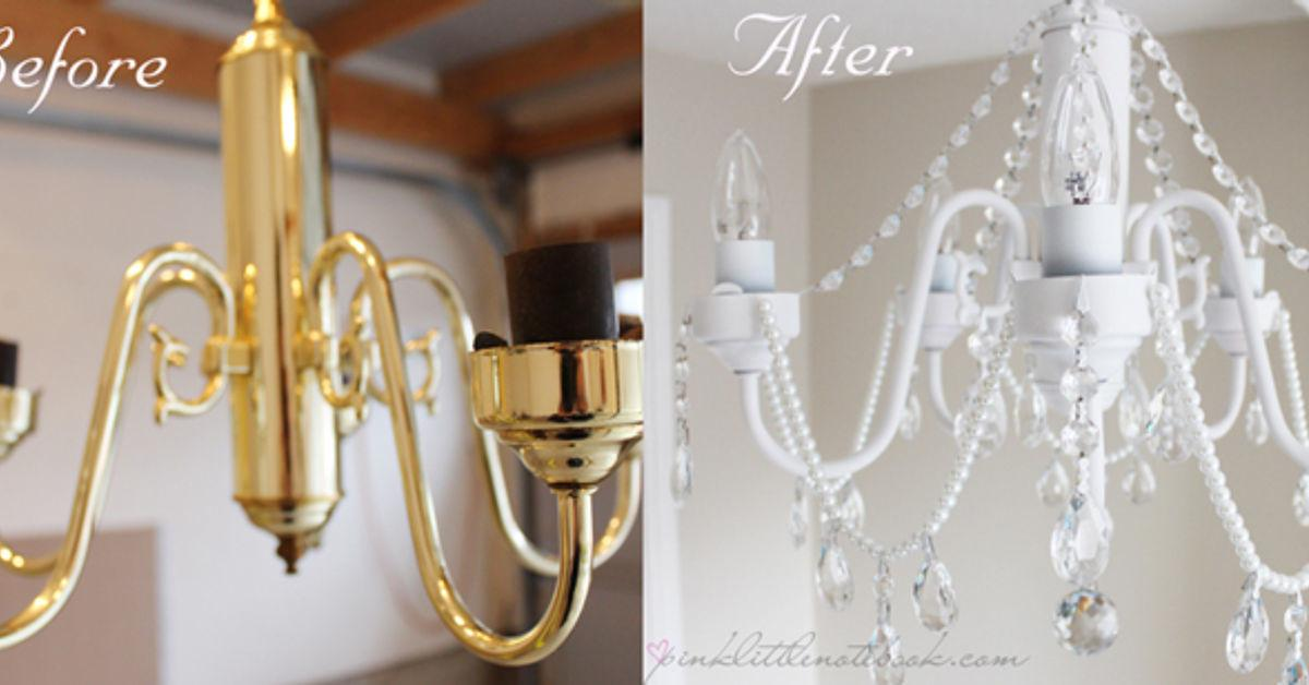 Image of: Diy Before After White Chandelier Crystals Decoratorist 140950