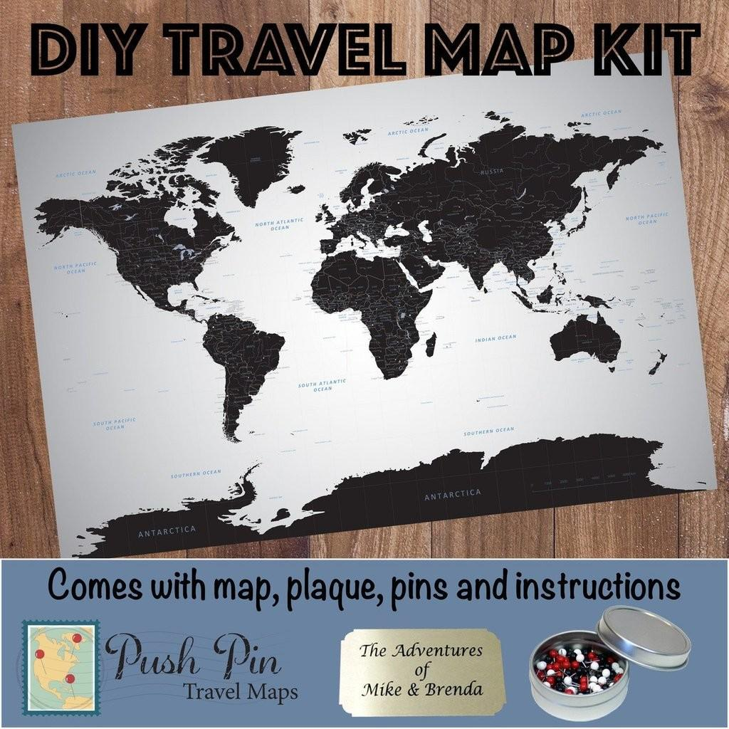 Diy Black Ice World Push Pin Travel Map Kit