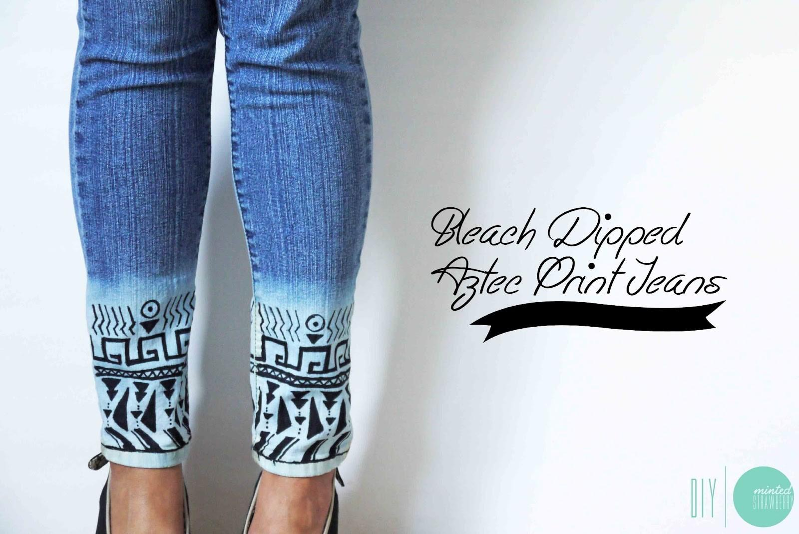Diy Bleach Dipped Aztec Jeans Minted Strawberry