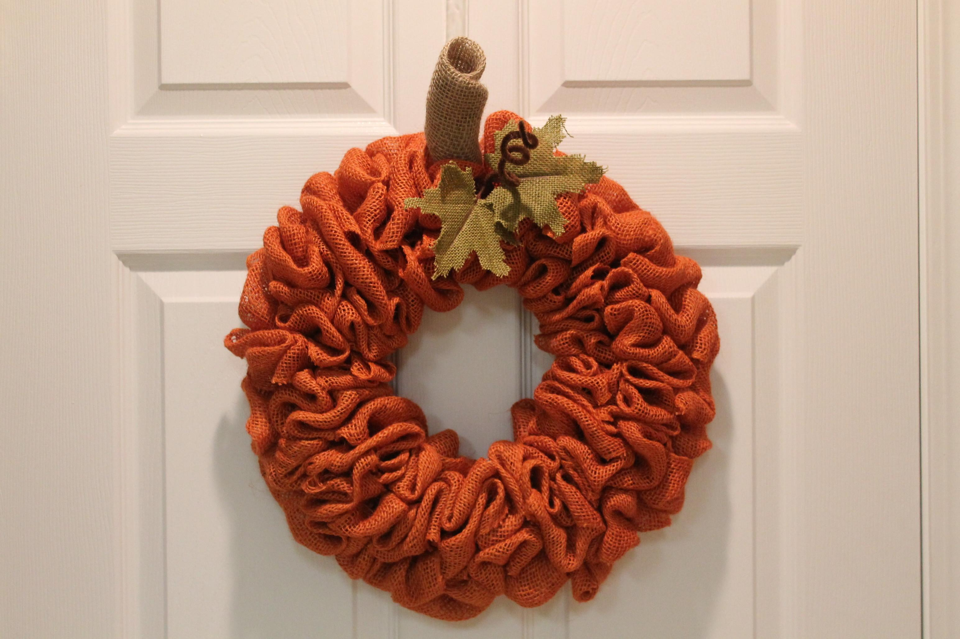 Diy Burlap Pumpkin Fall Wreath Depot