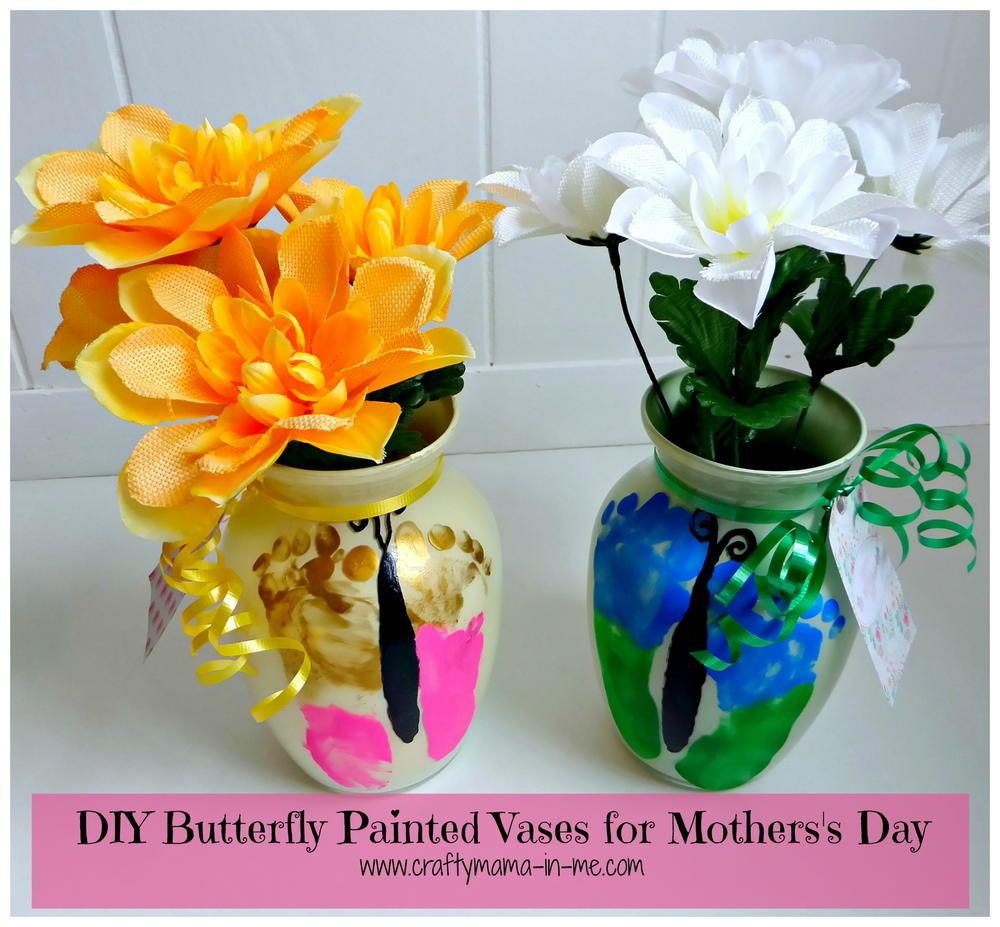 Diy Butterfly Painted Vases Mother Day