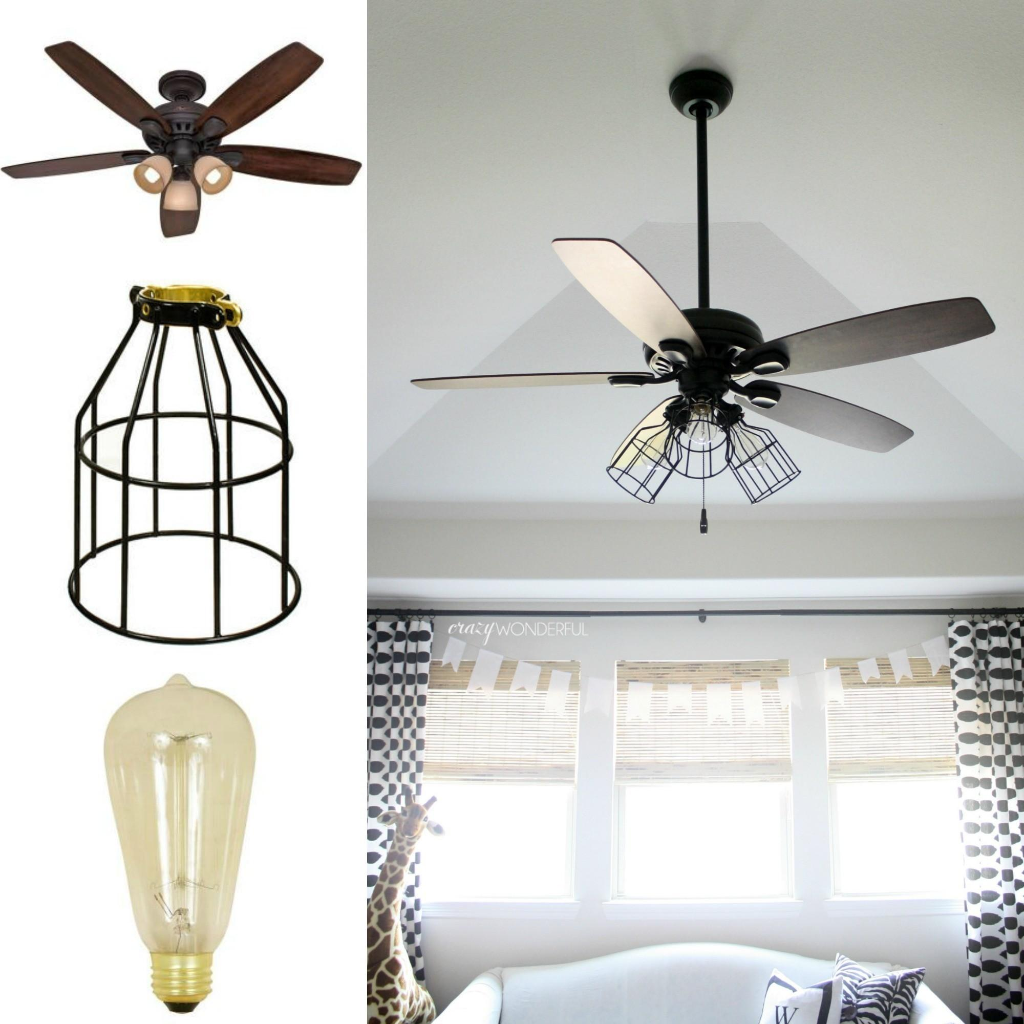 Diy Cage Light Ceiling Fan Hanging Home