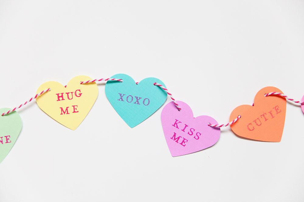 Diy Candy Heart Garland Tell Love Party