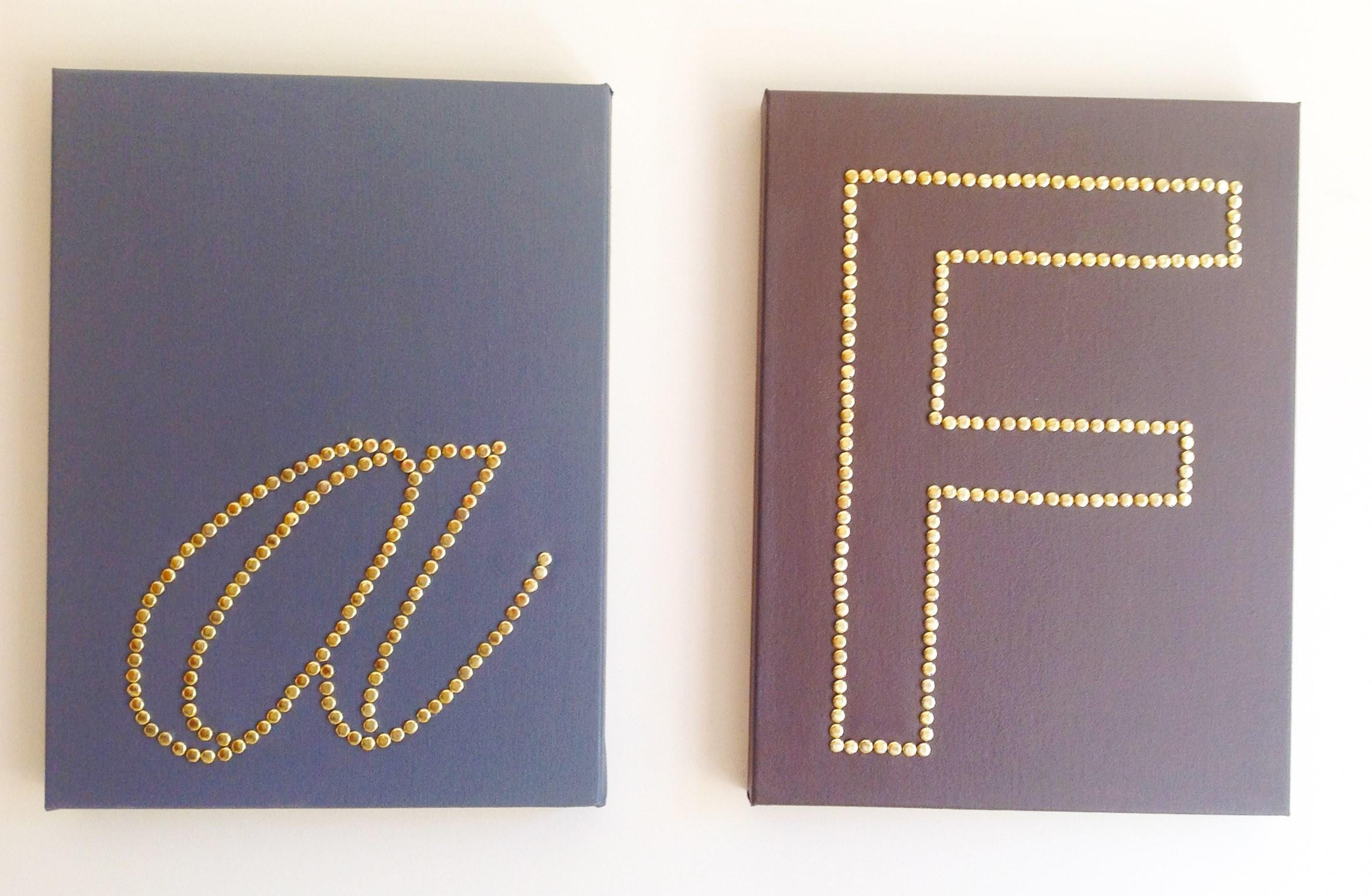 Diy Canvas Wall Art Brass Monogram Once Again