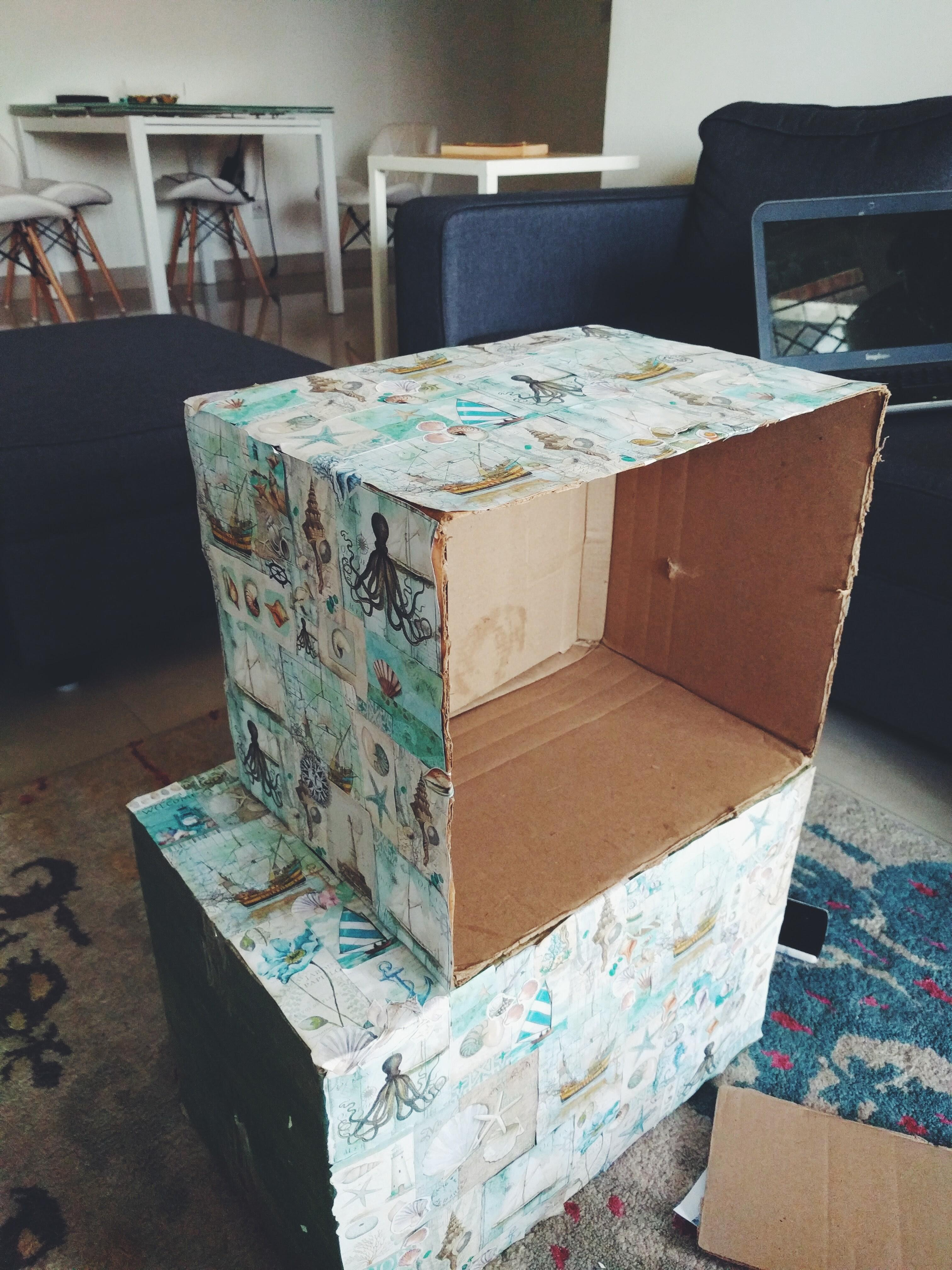 Diy Cardboard Bedside Table Outside Miracles
